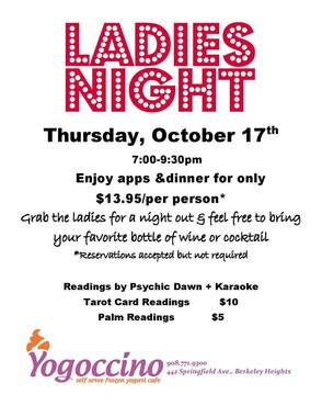 Yogoccino's Ladies Night Set for Thursday, Oct. 17, photo 1