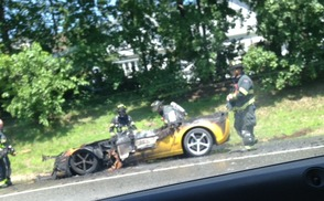 Corvette Car Fire Snarls Traffic for Miles Near Paterson, photo 1