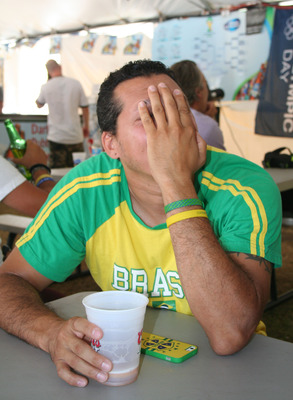 Brazil fan experiences the Agony of Defeat