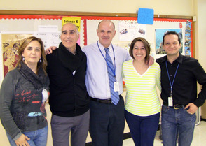 Teachers Stefania D'Amato and Remo Simonetti of Liceo Scientifico Giuseppe Berto of Vibo Valentia, Italy, with Scotch Plains-Fanwood High School principal Dr. David Heisey and teachers Giuseppina Della Pietra and Antonio Gaetano