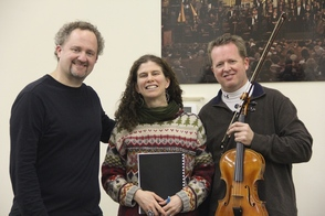 New Jersey Youth Symphony Artistic Director, Jeffrey Grogan; Composer, Amanda Harberg; and Violist, Brett Deubner