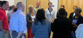 Supt. MacCormack Participates in group activity with administrators