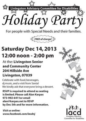 FREE LACD Holiday Party for Children with Special Needs