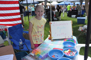 Shannon Geiger with her free crafts table.