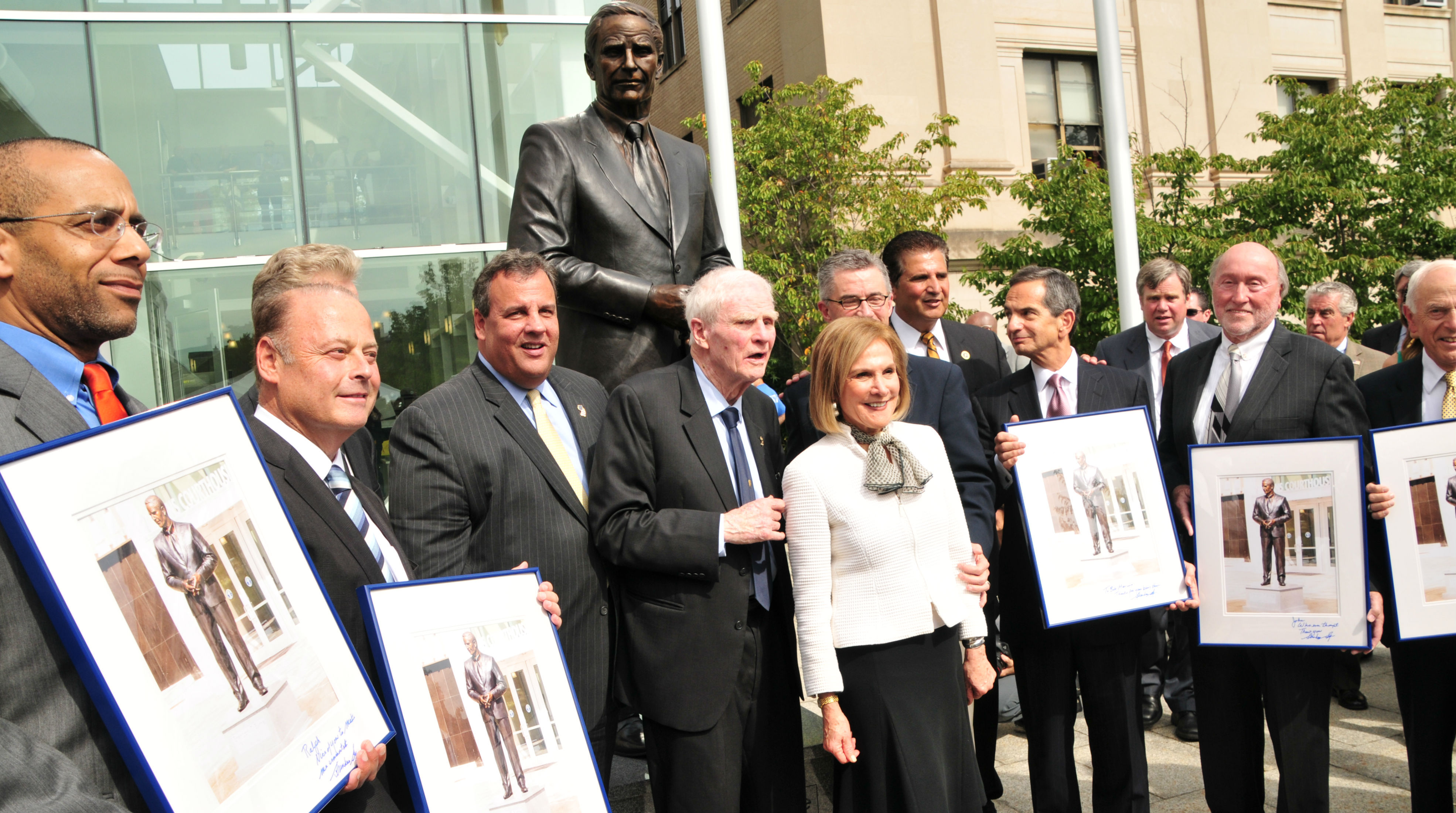 Essex County Executive Joe DiVincenzo and Governor Chris Christie Dedicate Governor Brendan Byrne Statue in Newark