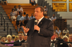 Governor Chris Christie at Vernon Township High School on Friday, June 28.