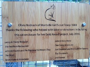 Thank You plaque for the Kitty Kabana at the Montville Animal Shelter