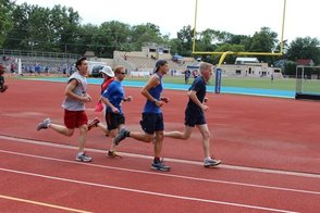 The benefit adult fun run at the Flyers' track meet