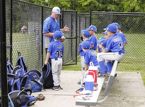 Chris Bates manages the 7U team at Route 22 Field tonight