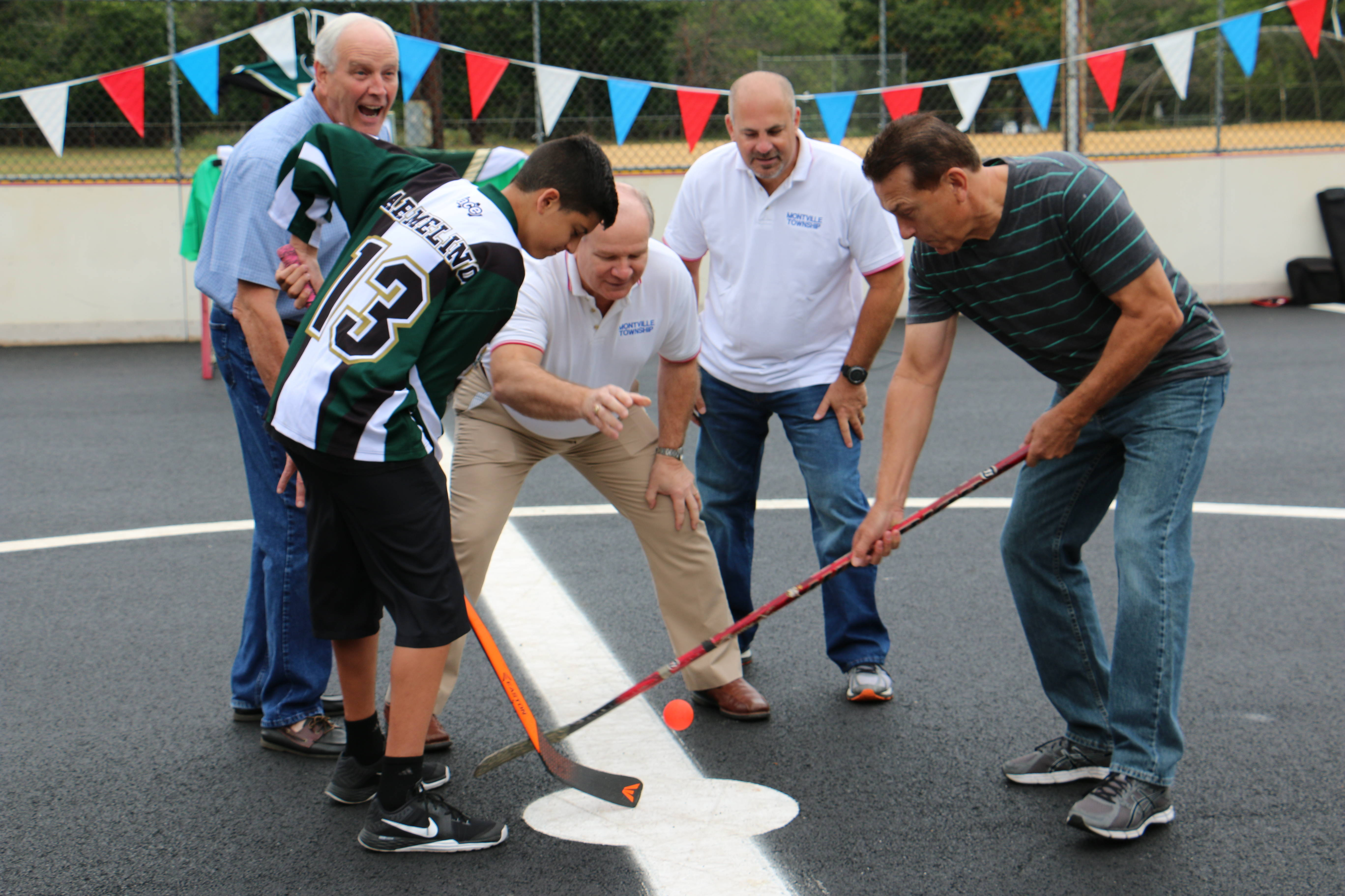 Roller skating rink kendall park nj -  And Township Committee Member Scott Gallopo Referee The Ceremonial Face Off Between Chris Armelino And Gerry Logan At Montville S Roller Hockey Rink
