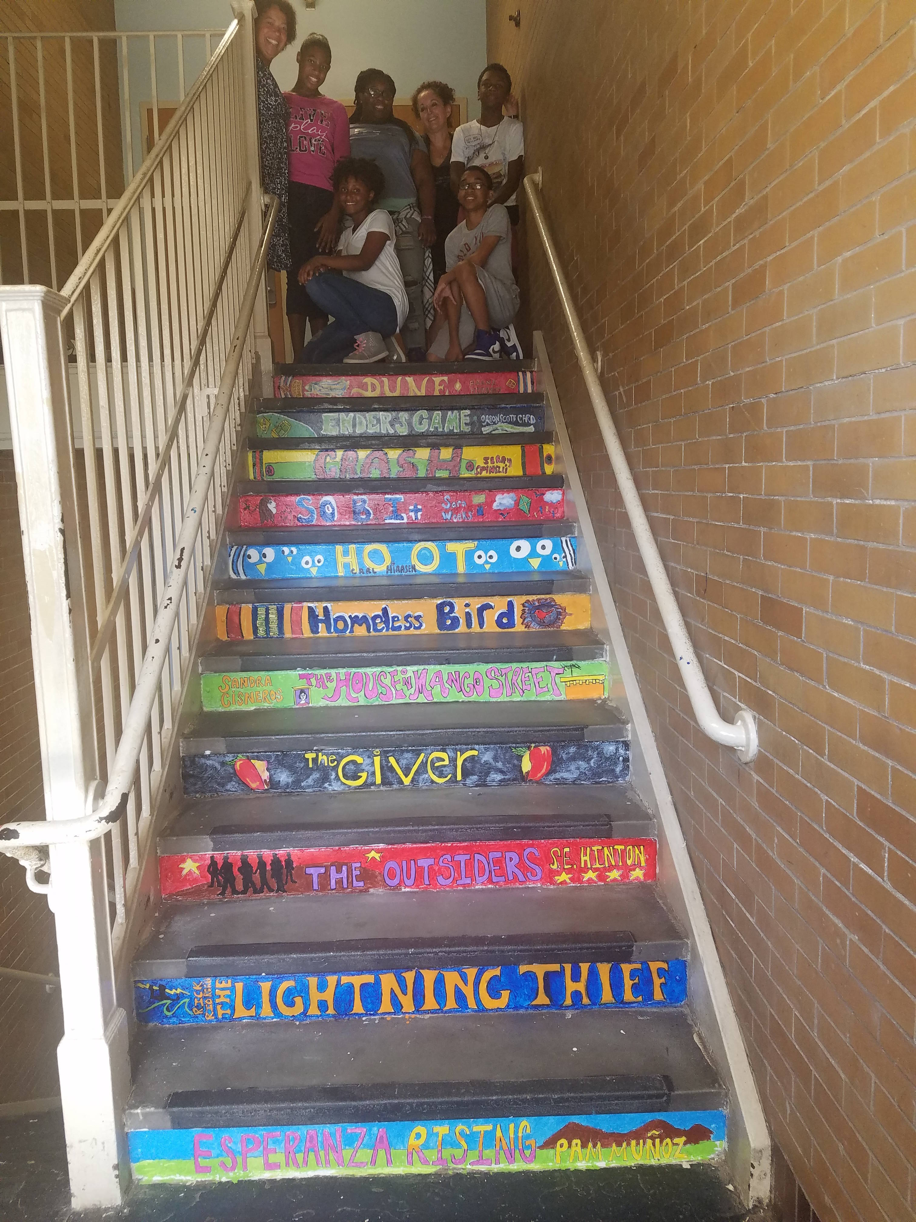 Burnet middle school title 1 students create book mural for Creating a mural