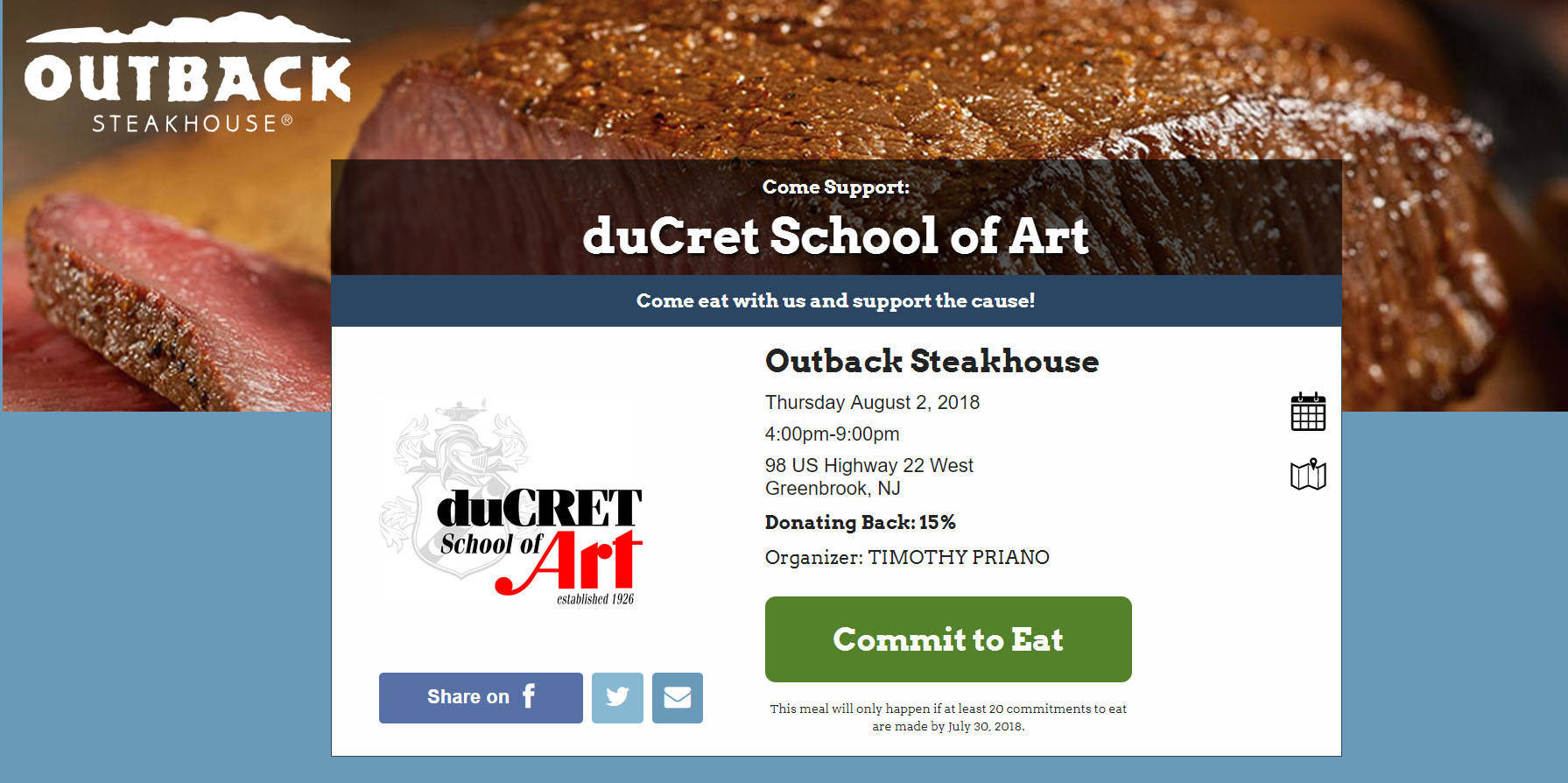DuCret School of Art and Outback Steakhouse Fundraiser - TAPinto