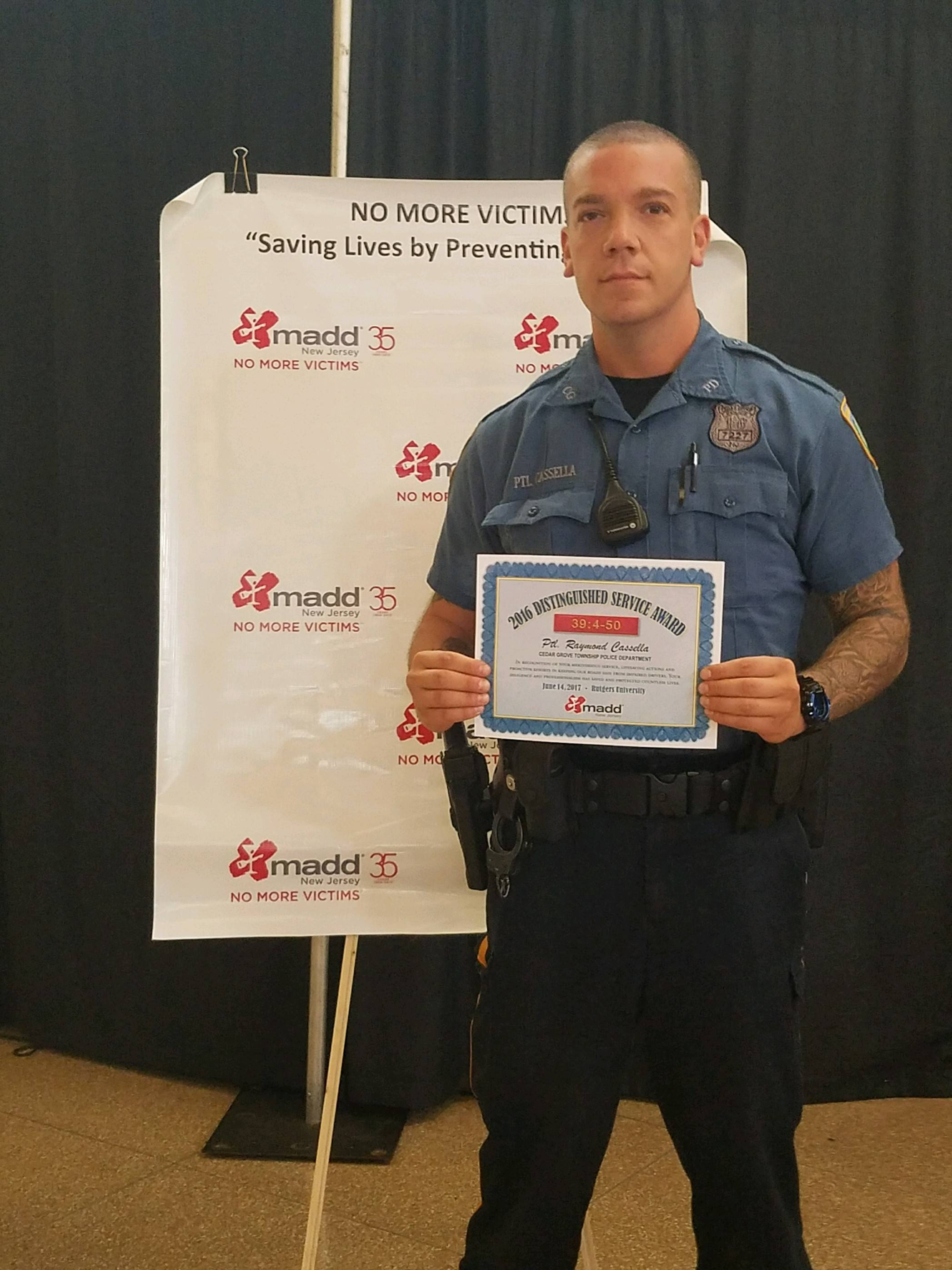 cedar grove s ptl raymond cassella receives madd award news