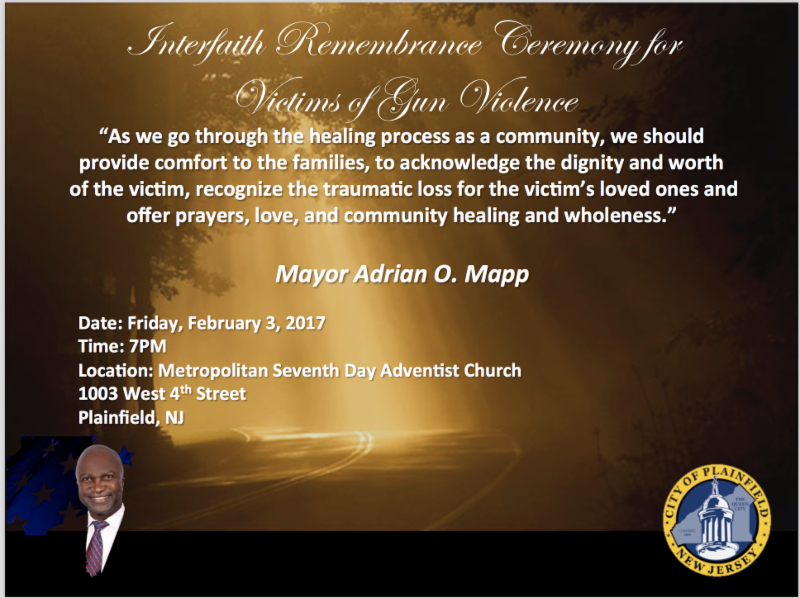 Plainfield Interfaith Remembrance Ceremony for Victims of Gun Violence to be Held
