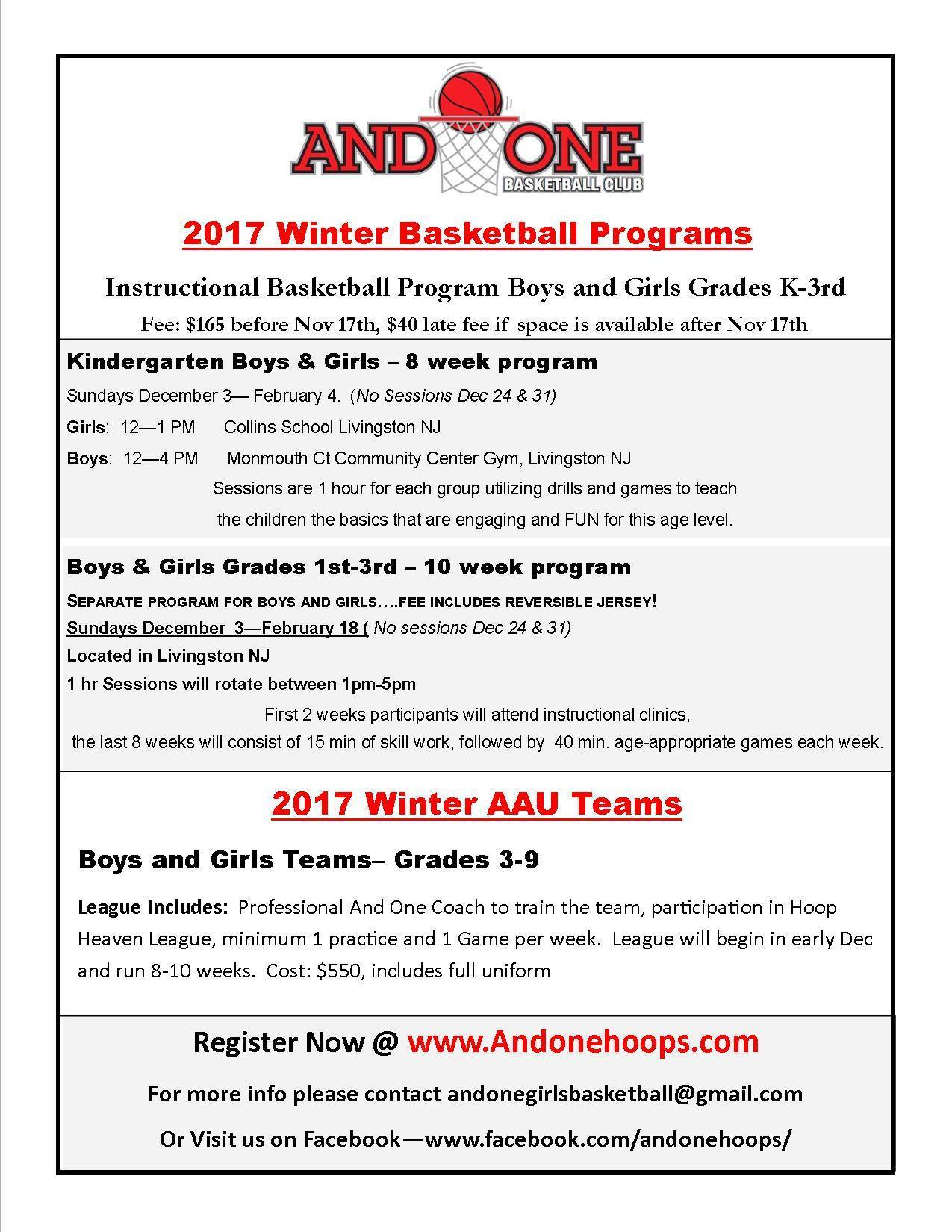 registration is open and one winter youth basketball livingston