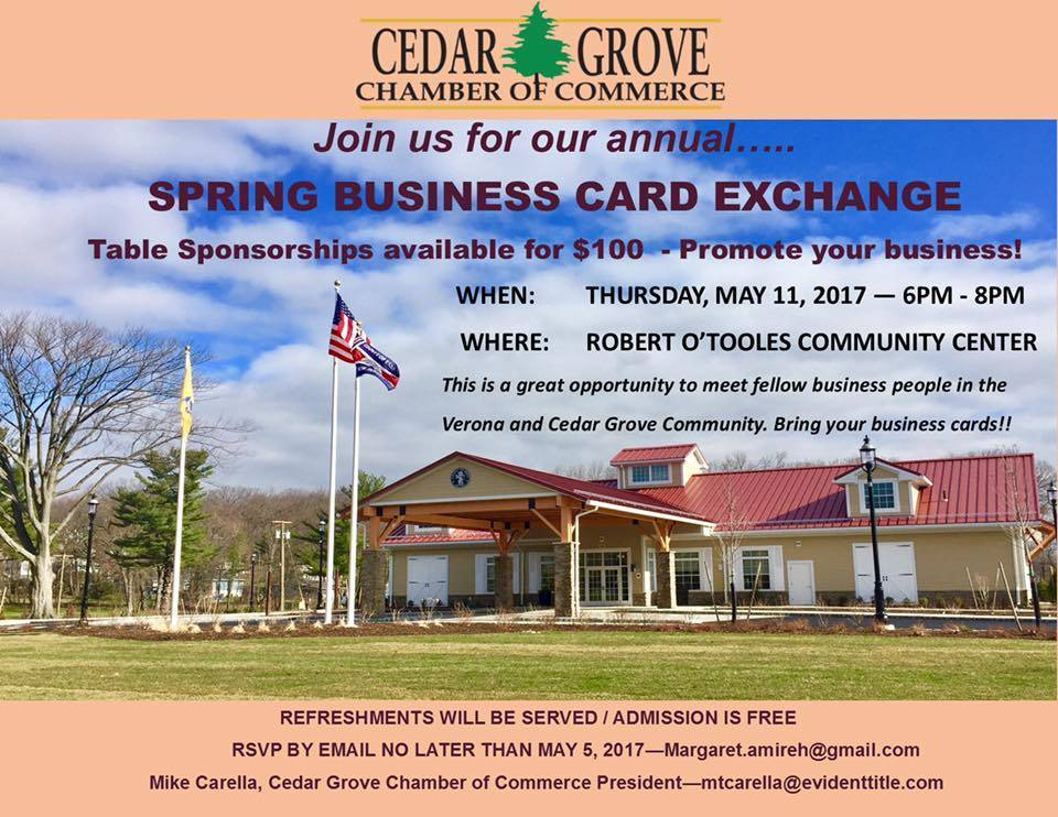 Cedar Grove Chamber Of Commerce Spring Business Card Exchange Tapinto