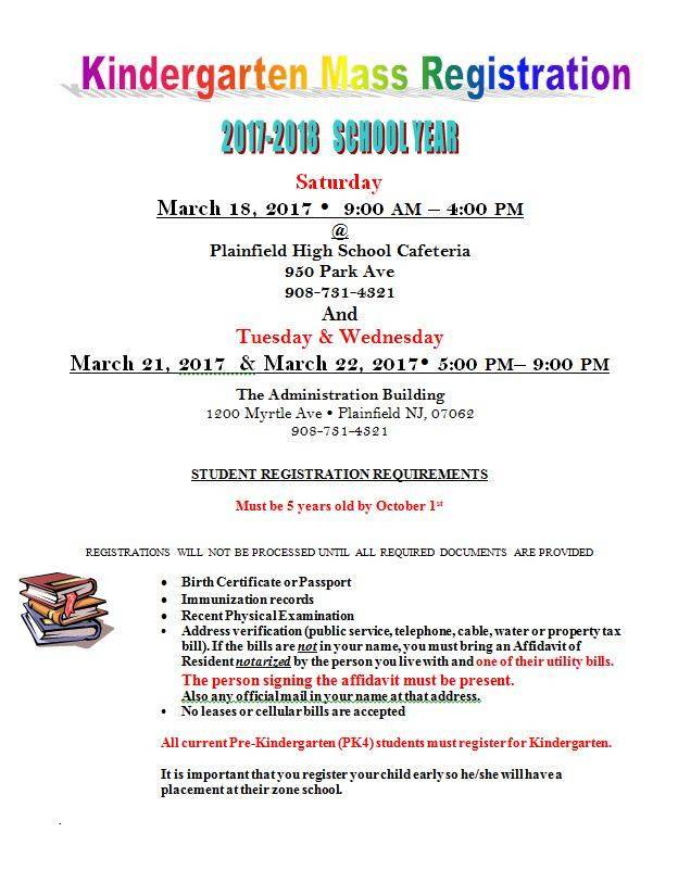 Plainfield School District Kindergarten Registration Changes for ...