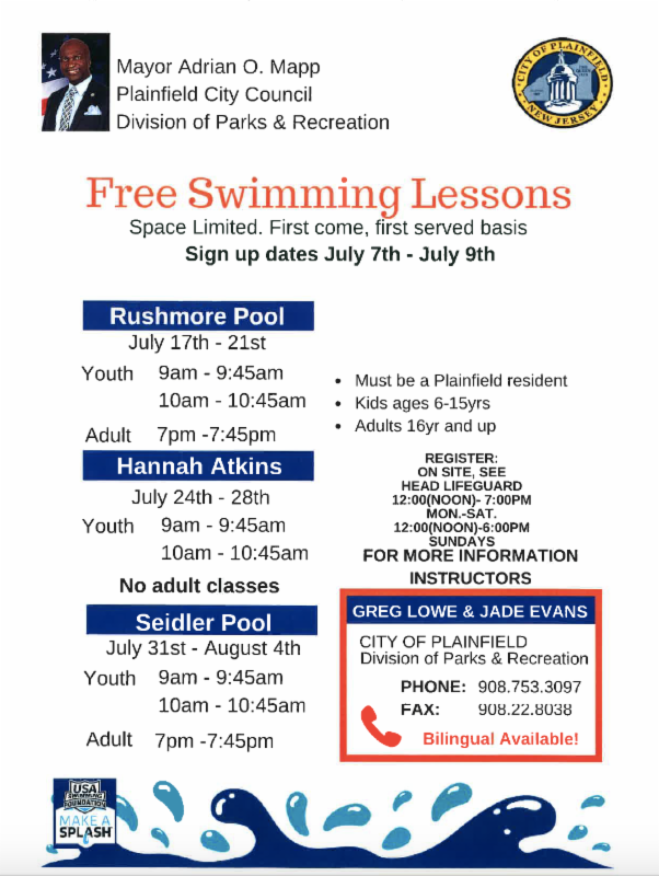 Plainfield Recreation Department Offers Free Swimming Lessons Registration Begins July 7