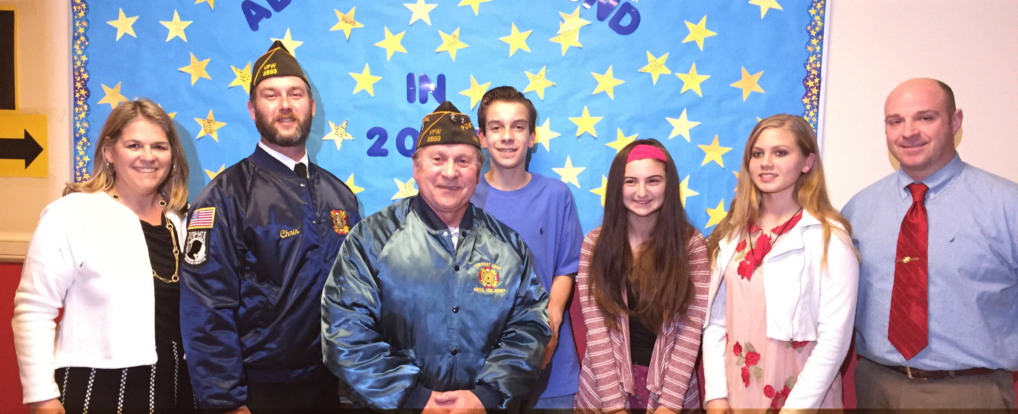 local vfw celebrates patriots pen and voice of democracy essay l r margery richman jeff mcdonald john lehnert thomas schulz farina emma wilk and principal dominick miller credits roxbury township public