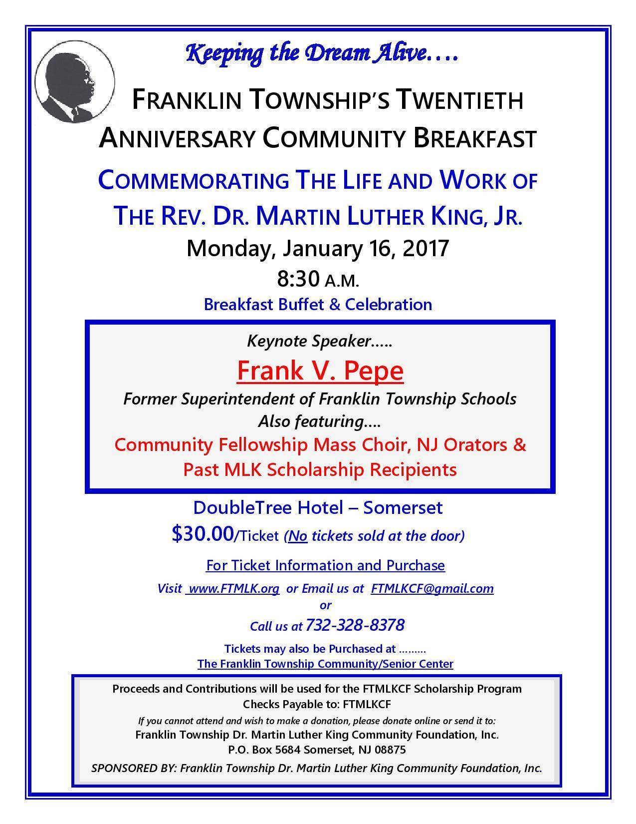 UPDATE: Dr. Martin Luther King Jr. Community Breakfast in Franklin Township