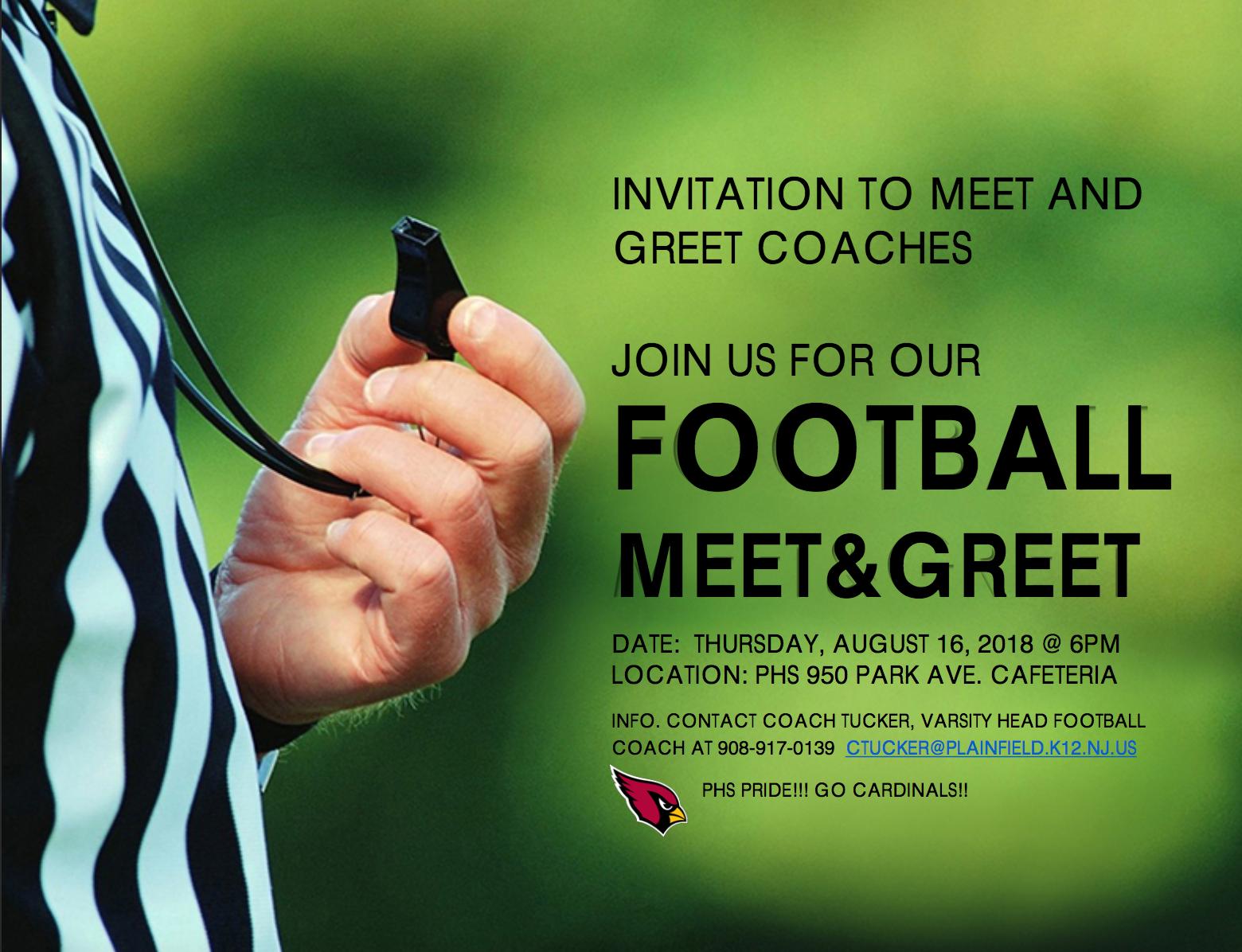 Invite to Meet & Greet Football Coaches - TAPinto