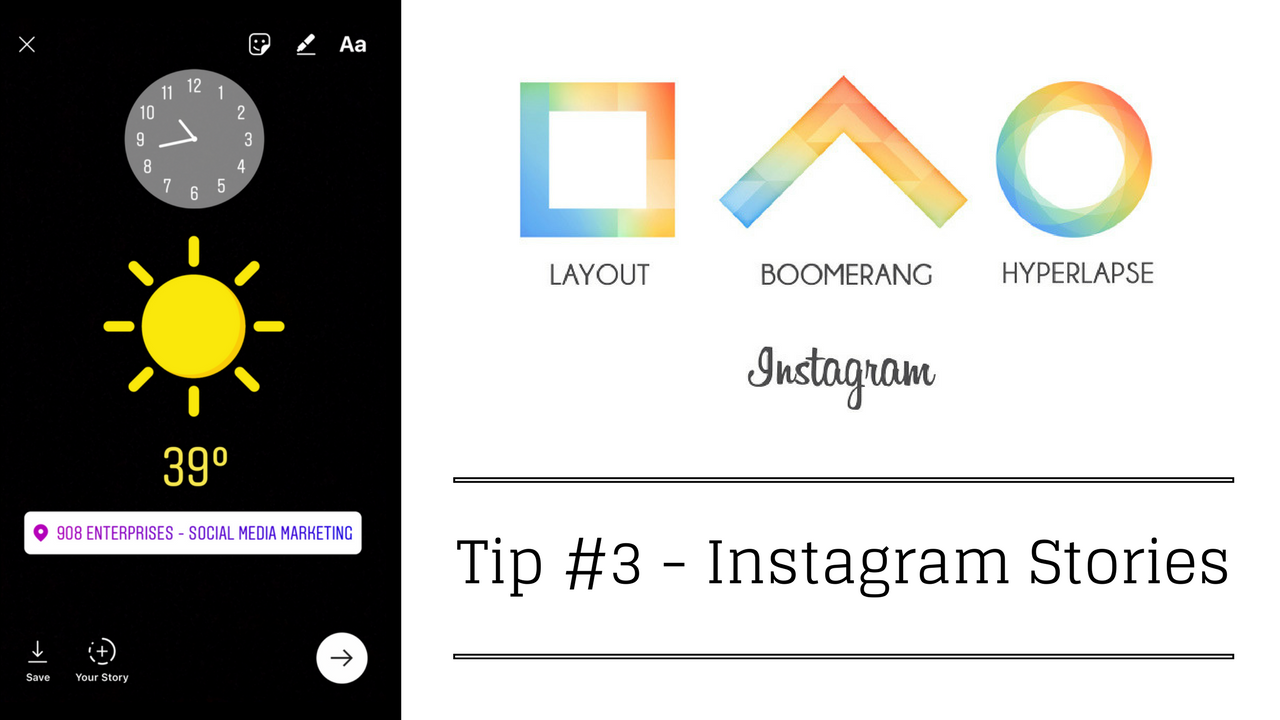 Tip 3 instagram updates news tapinto instagram story updates you are now able to add a location temperature or time to your story as well as custom instagram stickers and emojis ccuart Images