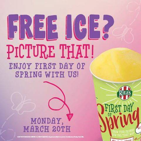 Rita's offers free italian ice on Monday, March 20