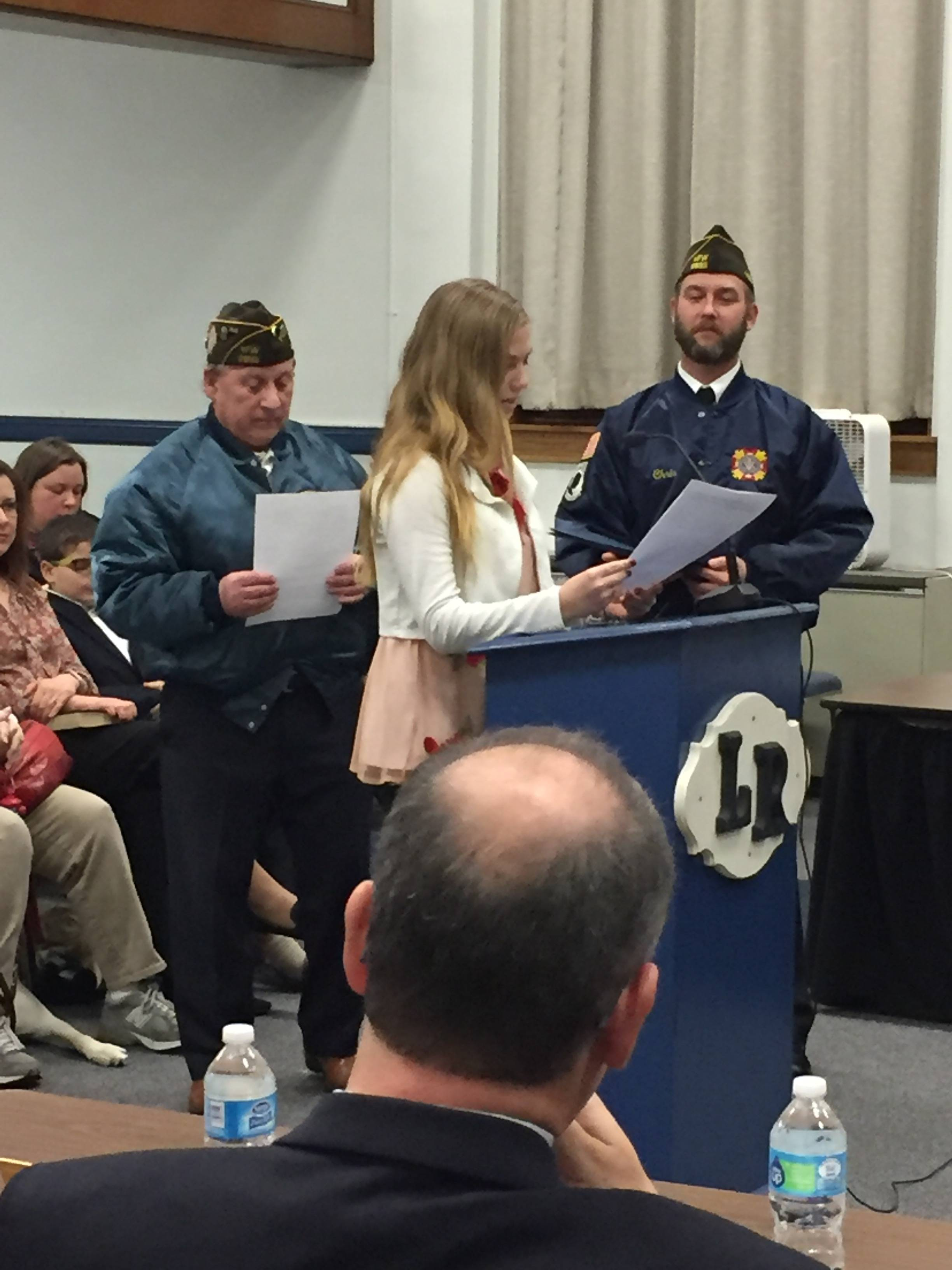 local vfw celebrates patriots pen and voice of democracy essay patriots pen emma wilk credits roxbury township public schools