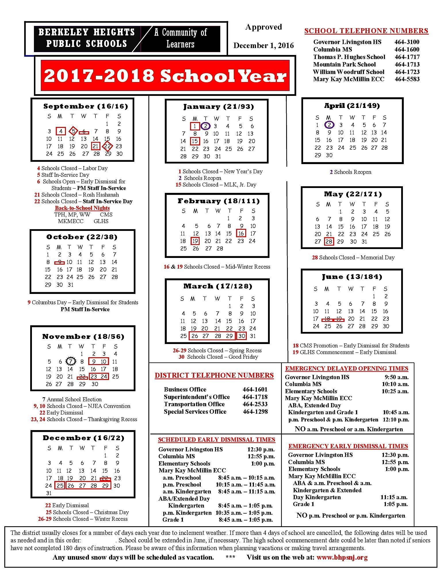 Berkeley County School Calendar 2016 2020 Berkeley Heights BOE Approves 2017 2018 School Calendar   TAPinto