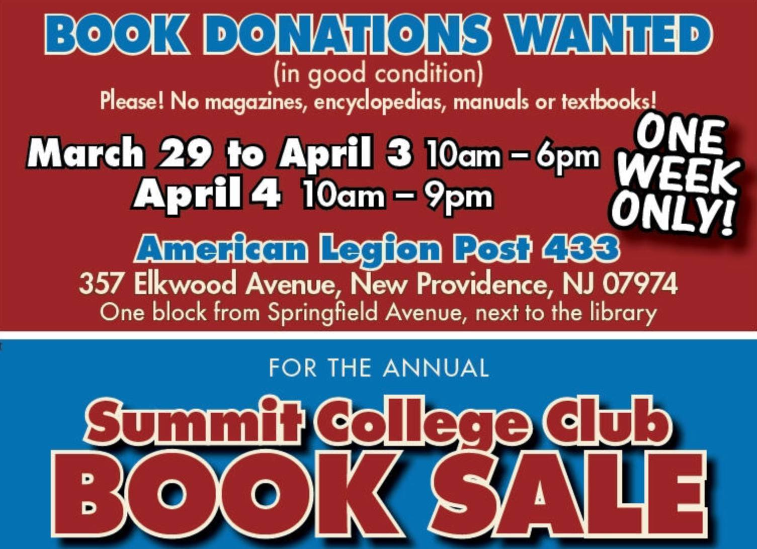 College Books For Sale >> Summit College Club Seeks Books For Annual Book Sale Tapinto