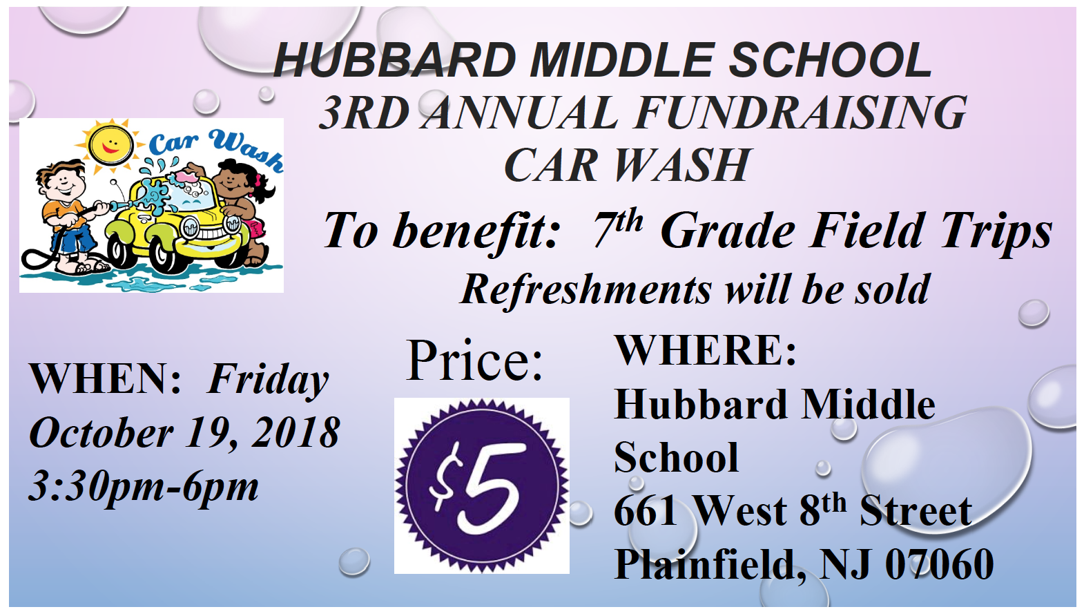 3rd Annual Car Wash Fundraiser At Hubbard Middle School Tapinto
