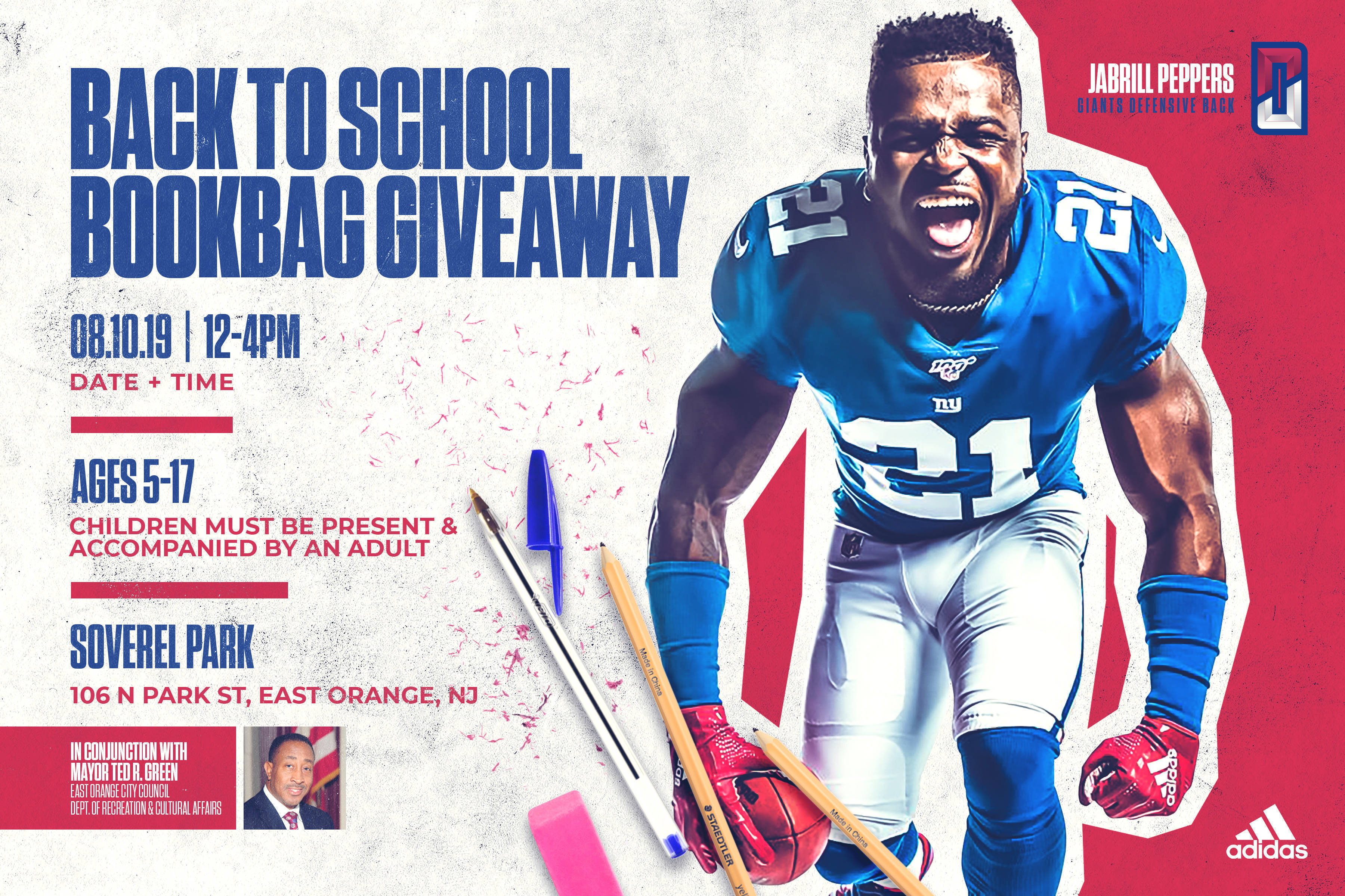 more photos fa256 3cbb5 Football Giants Star Jabrill Peppers is Hosting a Bookbag ...