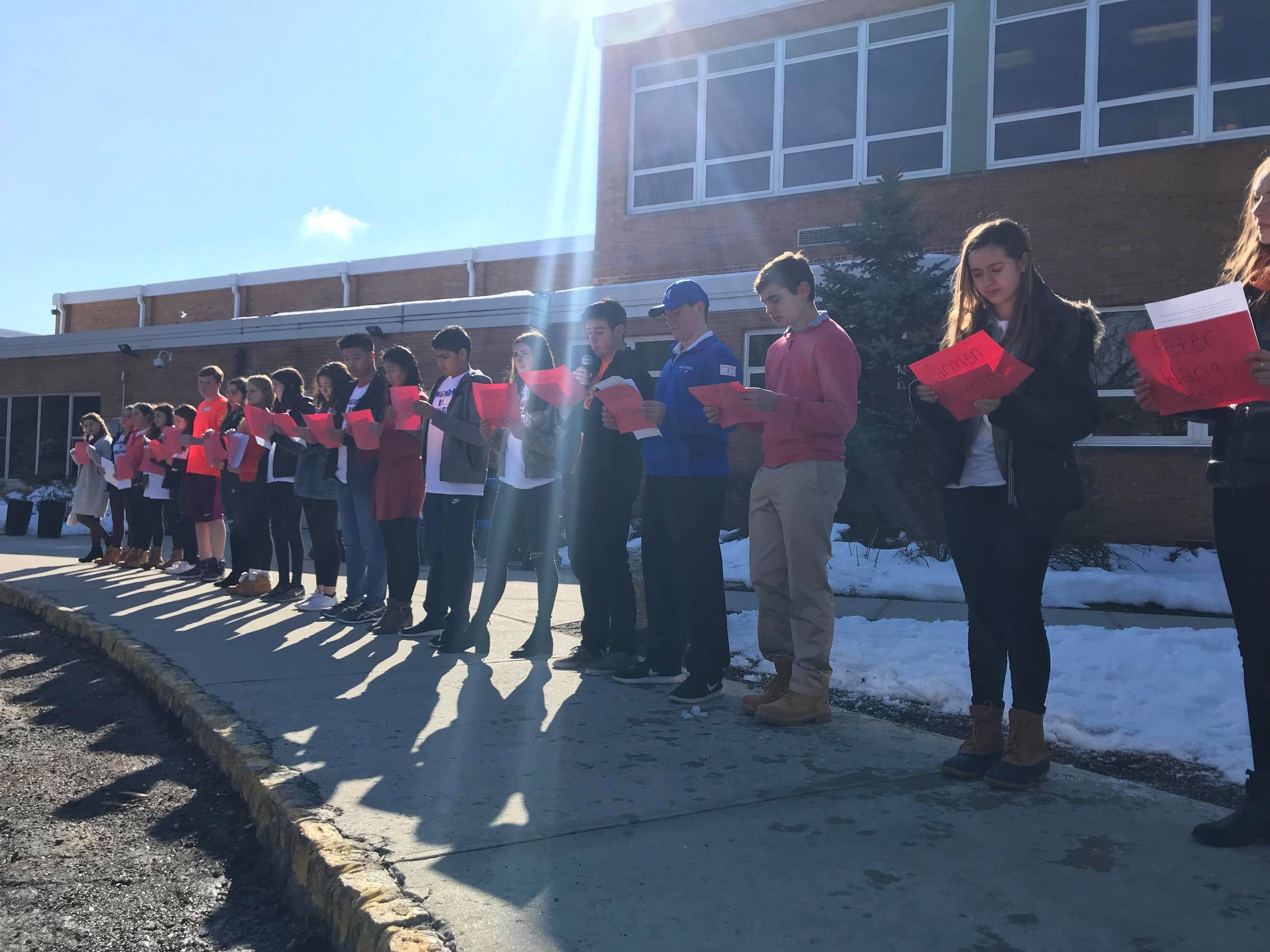 Millburn Students Bow Their Heads for Parkland