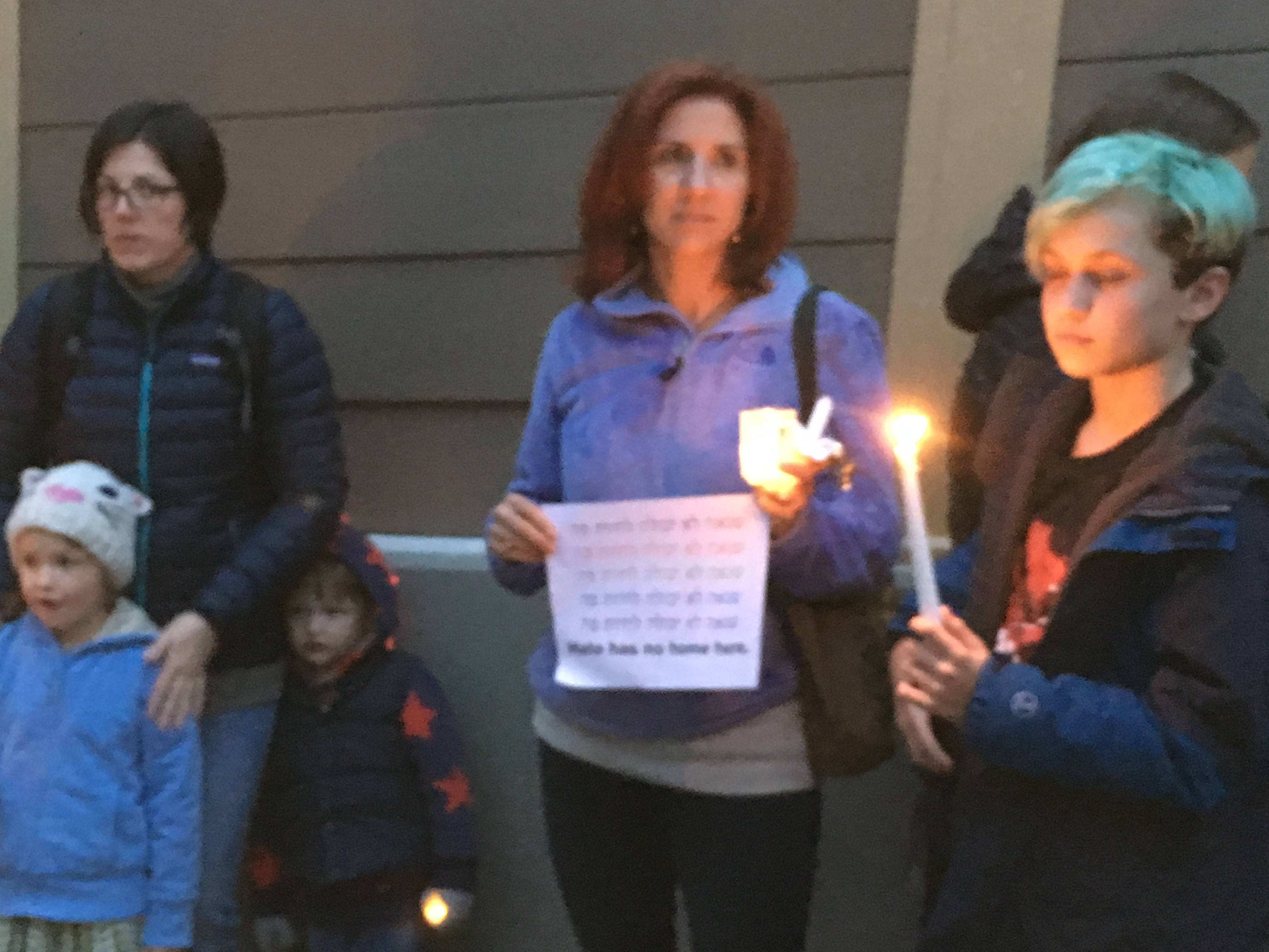 Local Residents Hold 'Hate Has No Home Here' Candlelight Peace Patrol
