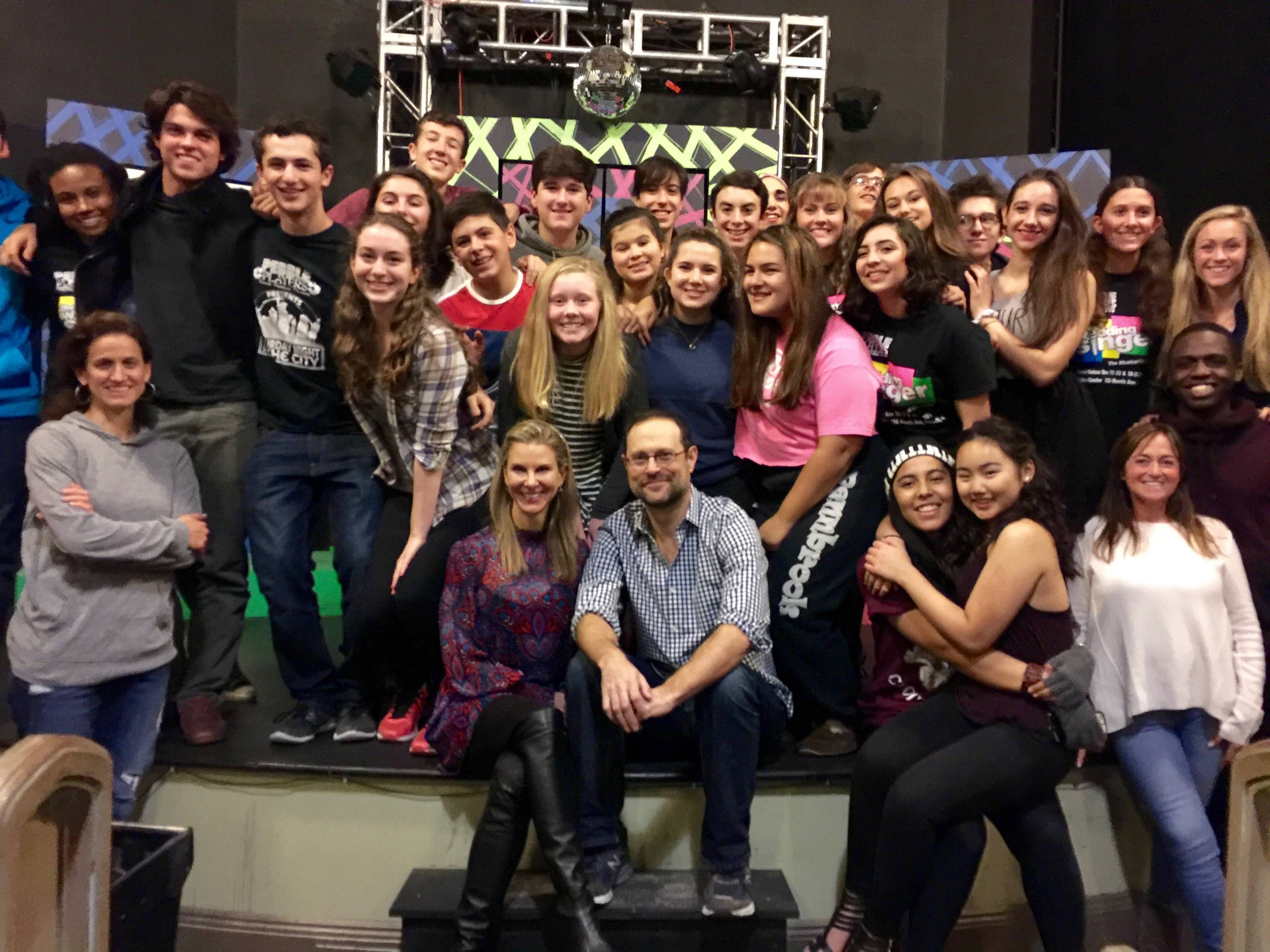 Marisa Sechrest And Matthew Sklar Center Among The Teen Cast Of Wedding Singer Credits Photo Courtesy Pebble Players