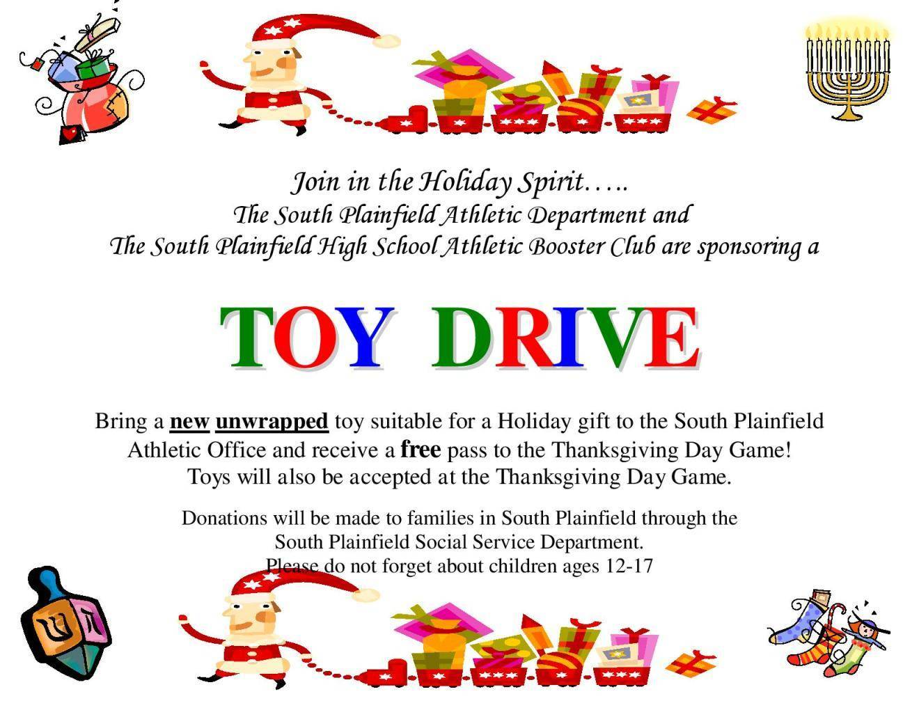 Sample Letters Toys For Tots : Toy drive south plainfield athletic department booster