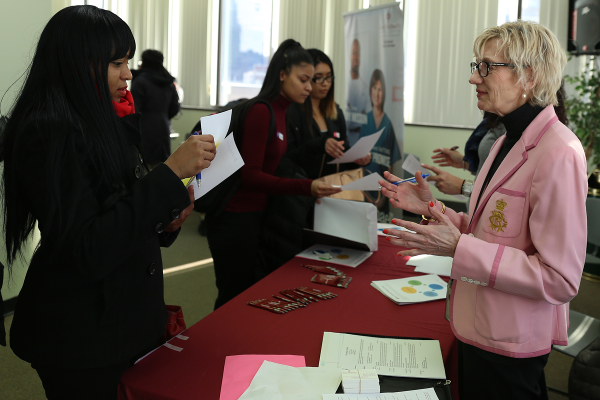 Mary Beth Rose A Nurse At Saint Michaels Medical Center Speaks To Prospective Job Applicant Fair Held Essex County College
