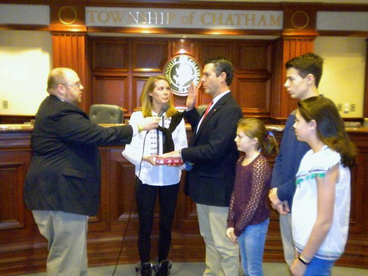 24687013454 08f944817541e3147fe8 DSCN9267.JPG. Greg LaConte issues the oath of office  to Chatham Township Mayor ...