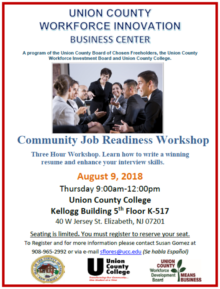 Free Resume and Interview Workshop for Union County Job Seekers ...