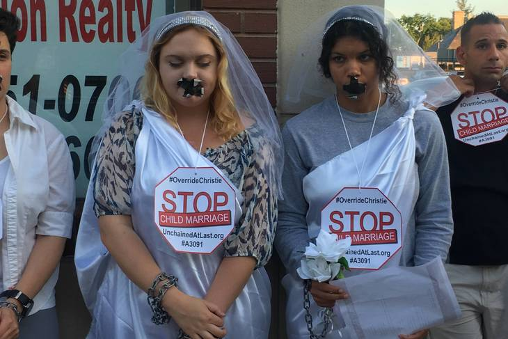 Protesters Chain Together Outside Assemblyman Bramnick's Westfield Office to Oppose Child Marriage