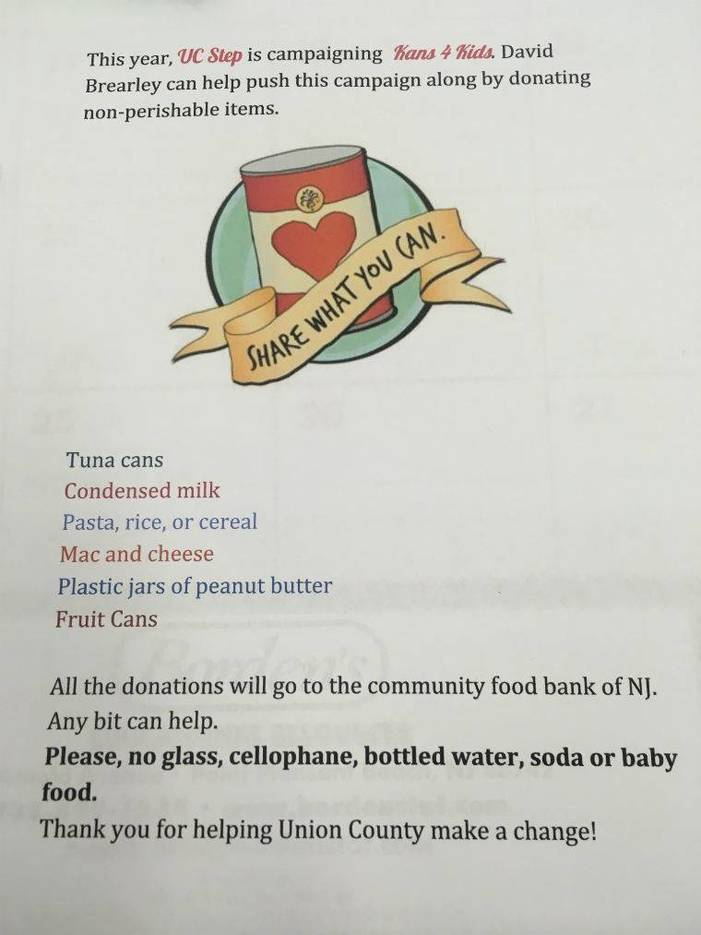"""David Brearley High School Collects Canned Foods for """"Kans for Kids"""" Campaign"""