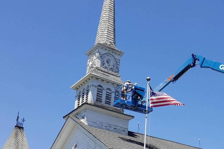 Presbyterian Church Steeple, a Roxbury Landmark, Gets Overdue Attention
