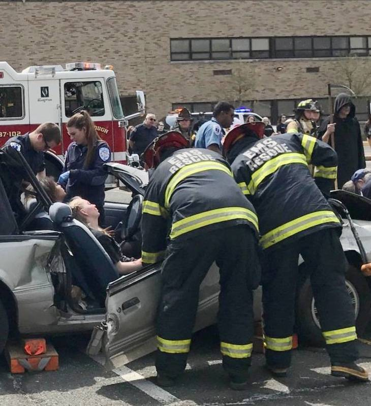 Grim reaper presides over simulated motor vehicle fatality for Motor vehicle new brunswick nj