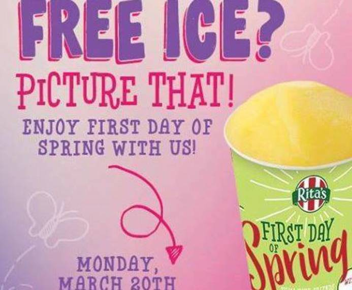 Rita's is giving away FREE Italian Ice on 1st day of spring