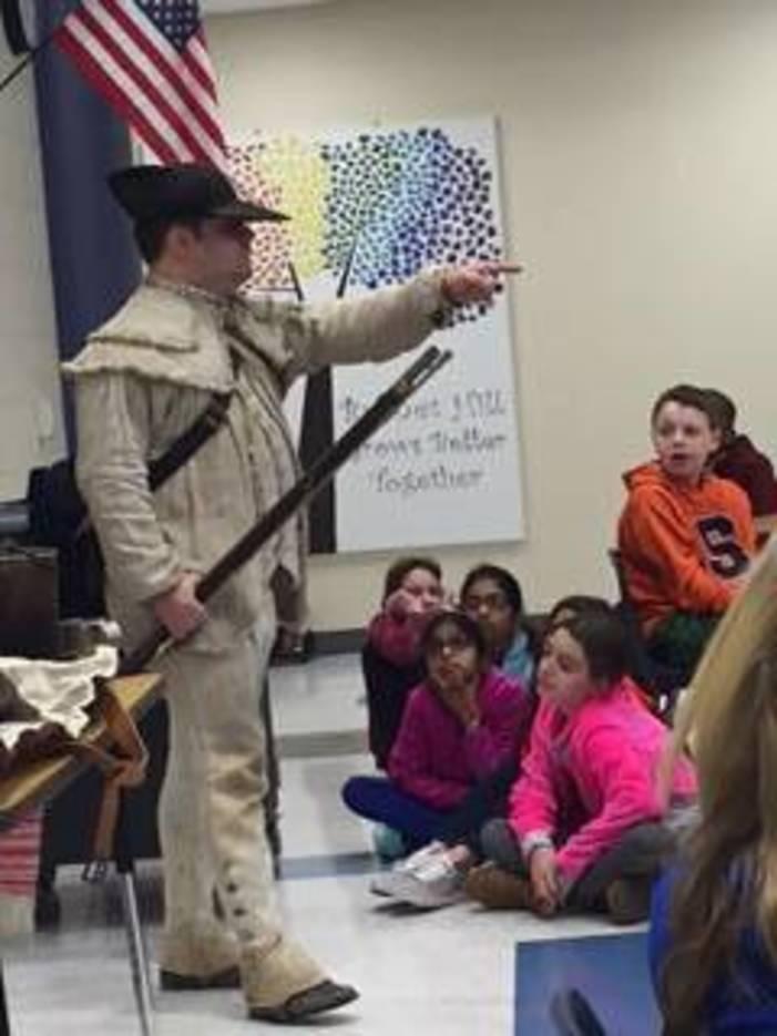 Revolutionary War Soldier Visits Burnet Hill Elementary School