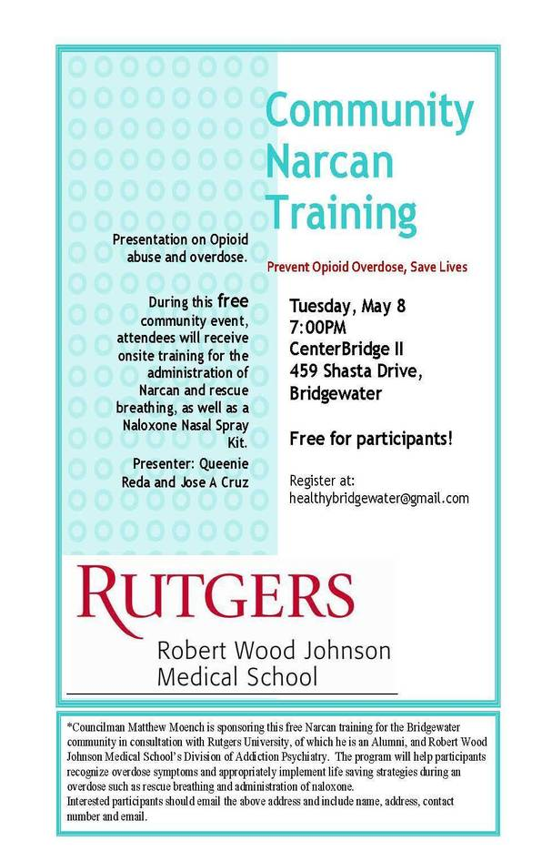 Bridgewater Hosting Community Narcan Training | TAPinto