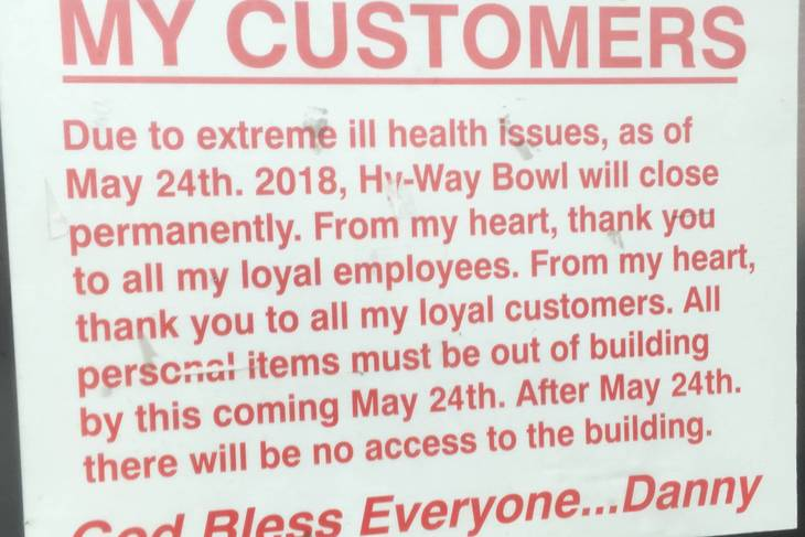 Hy-Way Bowl to Close Later This Month
