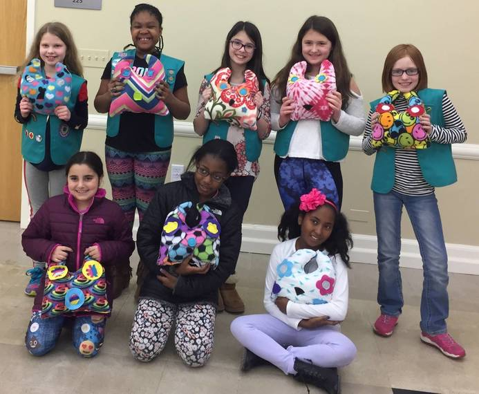 Westfield Girl Scouts Make Pillows for Tammy Lynn Center for Disabilities