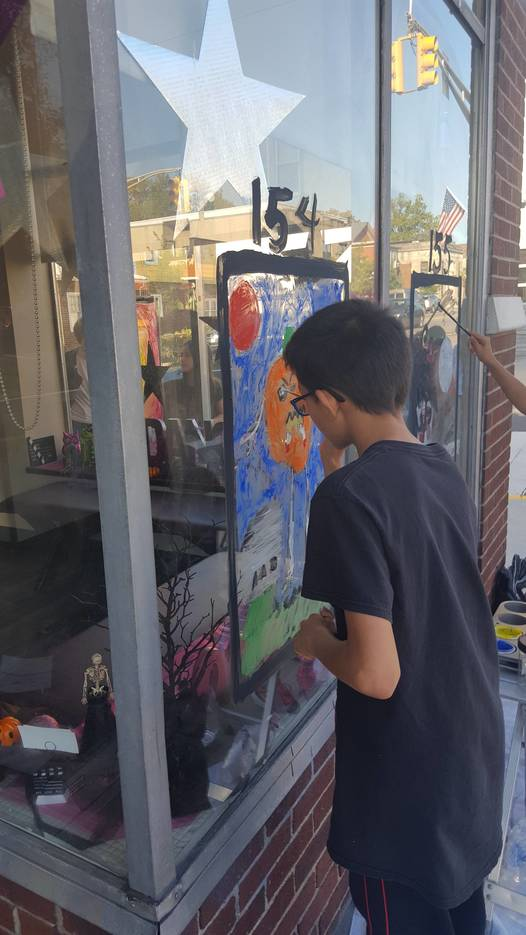 Annual halloween window painting contest