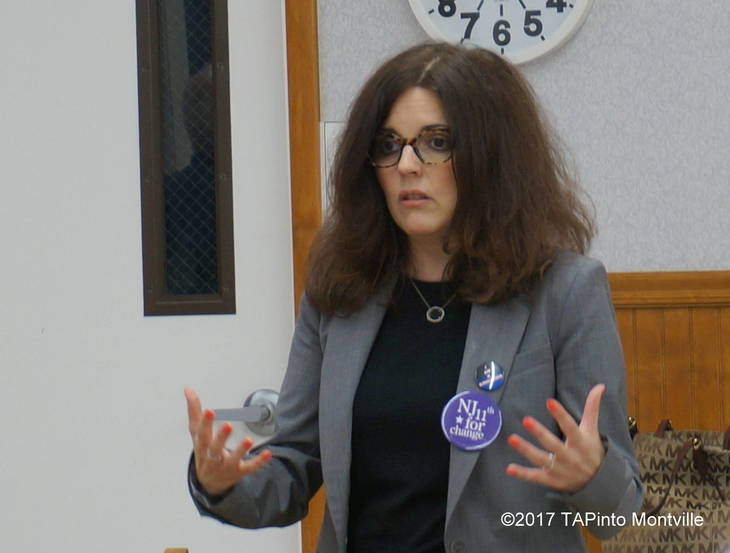 Saily Avelenda speaks at a meeting of the Denville Democrats
